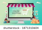 online shopping concept  people ... | Shutterstock .eps vector #1871310604
