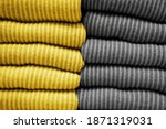 Small photo of Handmade knitting wool texture background.Illuminating and Ultimate gray Pantone color of the year 2021