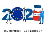 2021 year. covid 19 vaccine...   Shutterstock .eps vector #1871385877