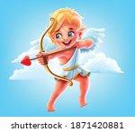 cupid angel in flight with... | Shutterstock .eps vector #1871420881