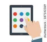 flat tablet app device hand...   Shutterstock .eps vector #187142369