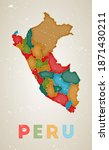 Peru Map. Country Poster With...
