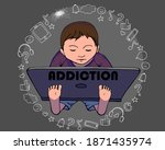 hand drawn vector outline color ... | Shutterstock .eps vector #1871435974