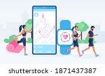 smartwatch app and fitness... | Shutterstock .eps vector #1871437387