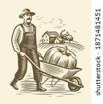farmer with wheelbarrow sketch. ... | Shutterstock .eps vector #1871481451