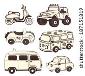Retro cars icons isolated set for your business - stock vector