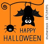 cute bat and hanging spider.... | Shutterstock . vector #187154591
