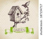 vintage sketch gardening... | Shutterstock .eps vector #187154717