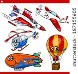 Cartoon Illustration of Aircraft or Air Vehicles like Planes and Balloons Comic Characters Set for Children - stock vector