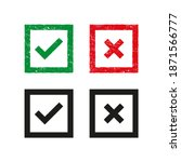 set of green and red cross and... | Shutterstock .eps vector #1871566777