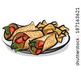 fajitas and tacos | Shutterstock .eps vector #187163621