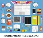 set of flat design icons.... | Shutterstock .eps vector #187166297