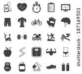 fitness icons set | Shutterstock .eps vector #187169501