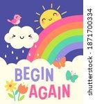 """begin again"" quotes typography ... | Shutterstock .eps vector #1871700334"