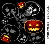 Pumkins and skulls seamless pattern over black background - stock vector