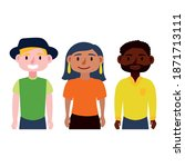 young interracial people... | Shutterstock .eps vector #1871713111
