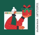 christmas online virtual... | Shutterstock . vector #1871722921