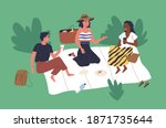 happy young friends sitting on... | Shutterstock .eps vector #1871735644