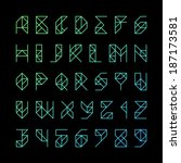 modern alphabet letters and... | Shutterstock .eps vector #187173581