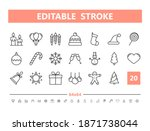 christmas 20 line icons. vector ... | Shutterstock .eps vector #1871738044