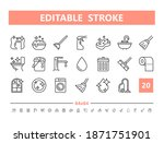 cleaning 20 line icons. vector... | Shutterstock .eps vector #1871751901