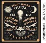 ouija board with crow skull....   Shutterstock .eps vector #1871771704