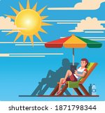 woman sitting on chair outdoor...   Shutterstock .eps vector #1871798344