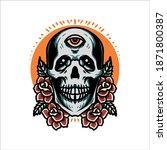 skull and rose tattoo vector... | Shutterstock .eps vector #1871800387