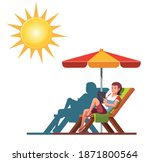 woman sitting on chair outdoor...   Shutterstock .eps vector #1871800564