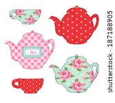Cute set of kitchenware for tea party decoration as retro applique in shabby chic style