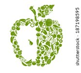 fruit and vegetables in shape...   Shutterstock .eps vector #187198595