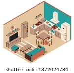 living room with kitchen in... | Shutterstock .eps vector #1872024784