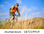 cyclist riding the bike on the... | Shutterstock . vector #187219919