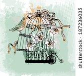 vintage birdcage vector | Shutterstock .eps vector #187236035