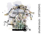 vintage birdcage vector | Shutterstock .eps vector #187236041