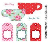 Tea party printables as tea labels or tags in shabby chic style
