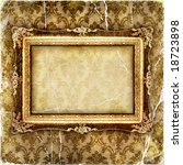 vintage tattered wallpaper with picture frame - stock photo
