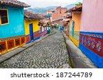 Colorful Colonial Houses A Cobblestone - Fine Art prints