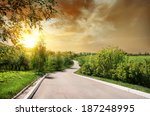 Asphalted Road And Birches At...