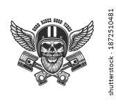 bearded skull in racer helmet...   Shutterstock .eps vector #1872510481