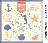 marine life cute set. vector... | Shutterstock .eps vector #187255475