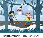 Two Boy Cleaning Snow On The...