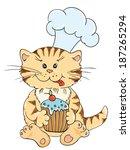 cartoon cat chef with cupcake   Shutterstock . vector #187265294