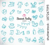 sweet baby. hand drawn baby... | Shutterstock .eps vector #187267595