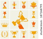 trophy and awards icons set.   Shutterstock .eps vector #187268795