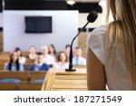 businesswoman is making speech... | Shutterstock . vector #187271549