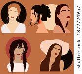 abstract women portraits. boho... | Shutterstock .eps vector #1872724957