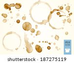 Coffee Stain, Isolated On White Background. Drop of coffee. Coffee or drink chaya.Kapli. Splashes of coffee. Vector.