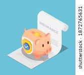 flat 3d isometric piggy bank... | Shutterstock .eps vector #1872765631