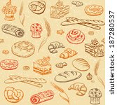 bakery elements sketch seamless ... | Shutterstock .eps vector #187280537
